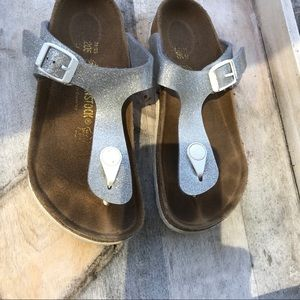 Girls Birkenstock silver glitter sandals 1